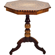 19th Century Italian Marquetry Octagonal Side Table