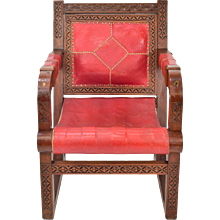 Vintage Moroccan Red Leather and Carved Wood Chair