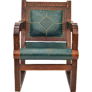 Vintage Green Leather Moroccan Wood Chair