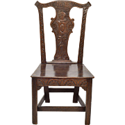 Oak 18th Century Carved Solid Splat Chippendale Chair