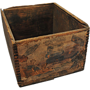 Vintage Asbestos Sad Iron Wood Box With Label