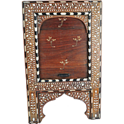 Antique Inlaid Syrian Table Mirror With Tambour Door One Of A Kind