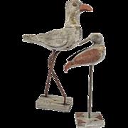 Pair of Primitive Wood Folk Art Birds on Stands