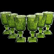 Set of 6 Indiana Wine Glass Mt Vernon Avocado Green