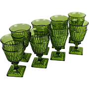 Set of 8 Indiana Water Glass Mt Vernon Avocado Green