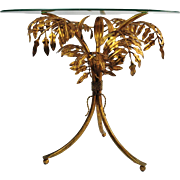 Italian Side Table with Glass Top and Gilded Metal Leaf Base