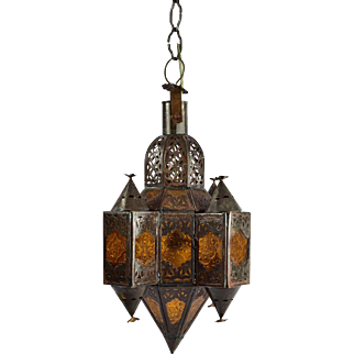 Moroccan Style Amber Glass and Metal Chandelier