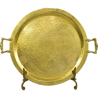 Round Russian Samovar Hand Hammered Brass Tray with Copper Rivits