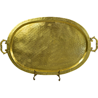 Antique Russian Hand Hammered Oval Brass Serving Tray
