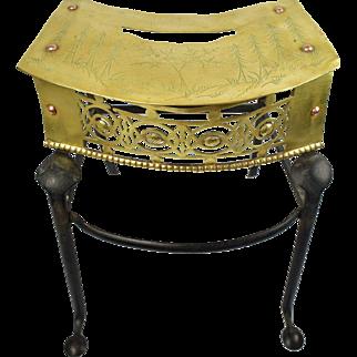 English George III Engraved Brass and Iron Footman Trivet Circa 1780