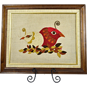 Framed Crewel Embroidery Red and White Birds on Leaves Mid Century
