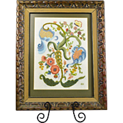Framed Crewel Embroidery Vines Flowers and Butterfly signed