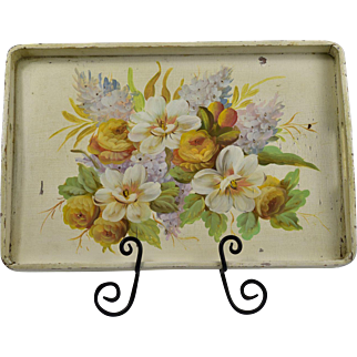 Rustic Tole Painted Wood Serving Tray Decorative