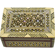 Mother of Pearl and Bone Inlaid Syrian Trinket Box Velvet Lined