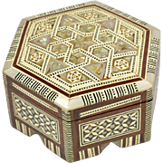 Mother of Pearl and Bone Inlaid Hexigon Shaped Box