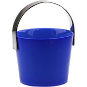 Orrefors Blue Glass and Silver Metal trim Fuga Ice Bucket..