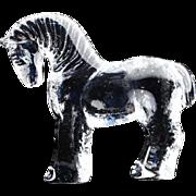 Kosta Boda Crystal Zoo Series Horse Flat Back Figurine..