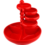 Red Plastic Snack tray / Adjustable Party Etagère W. Germany..