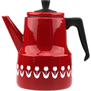 Vintage Red Enamel Kettle Coffee Pot Tulip Decoration..