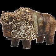 Mid Century Ego Stengods Lidkōping Swedish Ceramic Bison - Bisonoxe..