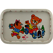 Vintage Child's Metal Serving Tray With Bear Design..