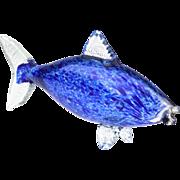Italian Murano Blue Glass Fish Sculpture..