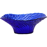 Finnish Vintage Art Glass from Mäntsälän Lasisepät Blue Bowl..