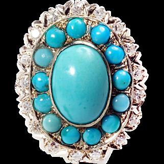 14k White gold vintage turquoise ring