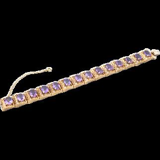 Vintage 14k textured amethyst bracelet