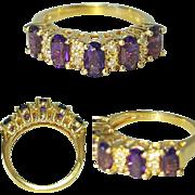 Hallmarked 14 Karat Yellow Gold Amethyst and Diamond Ring