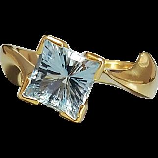 18 Karat Yellow Gold Custom Designed Aquamarine Ring