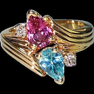 14 Karat Yellow Gold Pink Tourmaline, Blue Zircon and Diamond Ring