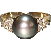 Hallmarked 14 Karat Yellow Gold Black Tahitian Cultured Pearl and Diamond Ring