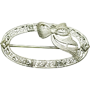 14 Karat White Gold Diamond Brooch. Free U.S. Shipping. International Shipping Charges May Vary.