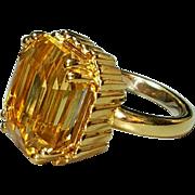 18 Karat Yellow Gold Citrine Gemstone Ring