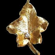 Hallmarked 14 Karat Yellow Gold Diamond Leaf Design Diamond Brooch