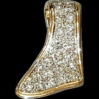 Hallmarked 14 Karat Yellow Gold Pave set Diamond Pendant