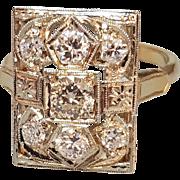 Hallmarked 14 Karat Yellow Gold Diamond Ring with a White Top