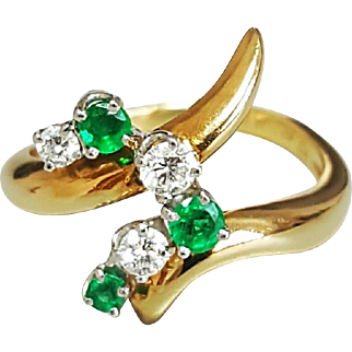 Hallmarked 18 Karat and McT for McTeigue Co. Yellow Gold and Platinum Emerald and Diamond Ring