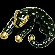 Hallmarked 14 Karat Black Enameled Cat with Diamond Accents Pendant Slide