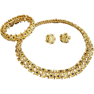 18 Karat Yellow Gold Diamond and Sapphire Necklace, Bracelet and Pair of Earrings, Set. Marked Made in FRANCE