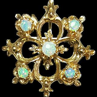 14 Karat Yellow Gold Opal Pendant Brooch