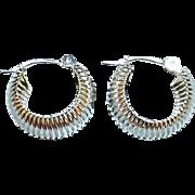 Pair of 18 Karat White Gold Hoop Style Pierced Earrings
