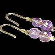 Pair of 14 Karat Yellow Gold Amethyst Gemstone Dangle Style Pierced Earrings