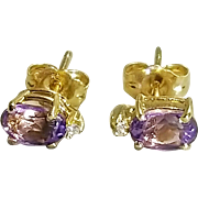 Pair of 14 Karat Yellow Gold Amethyst and Diamond Pierced Style Earrings