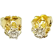 Pair of 14 Karat Yellow Gold Buttercup Style Diamond Earrings. Free U.S. Shipping. International Shipping Charges May Vary.