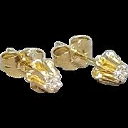 Pair of 14 Karat Yellow Gold Buttercup Style Pierced Diamond Earrings