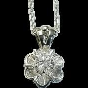 14 Karat White Gold Diamond Pendant Set with One Round Brilliant cut Diamond
