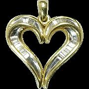 10 Karat Yellow and White Gold Diamond Heart Pendant