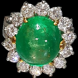 Stunning 90% Platinum 10% Iridium with 18 Karat Yellow Gold Genuine Emerald and Diamond Ring